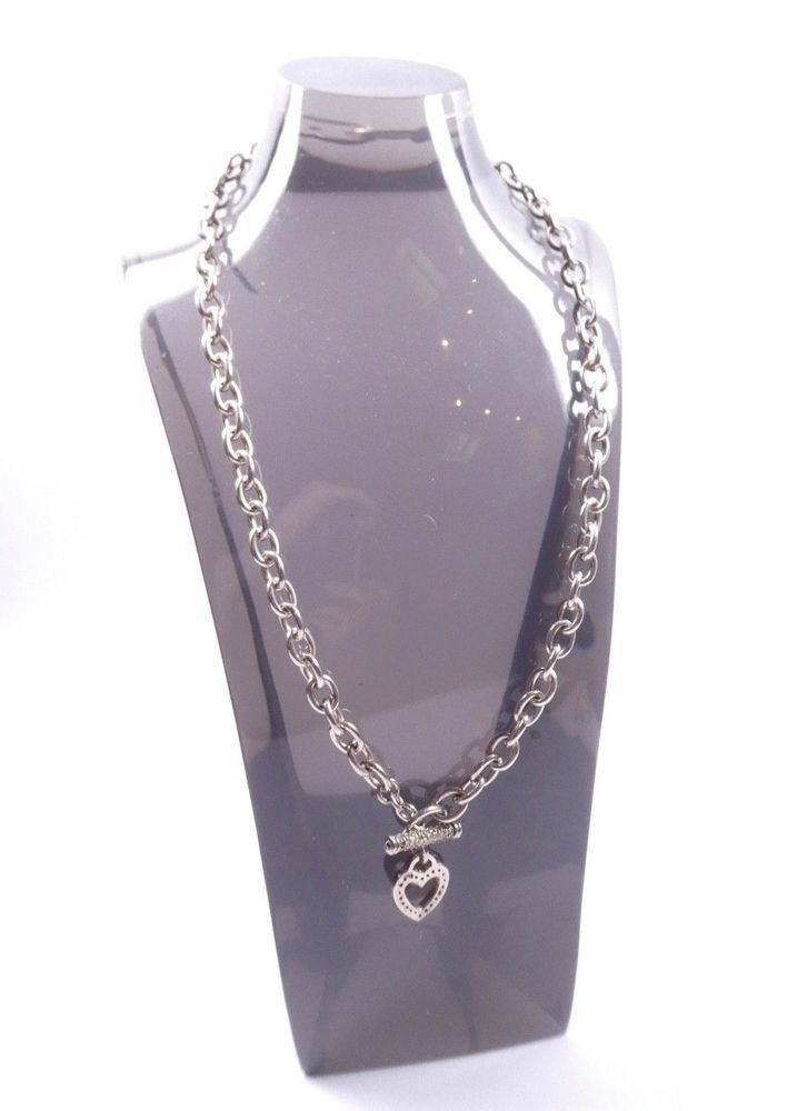 20db7467f Necklace Chain 925 Sterling Silver Clear Cubic Zirconia CZ Love Heart T Bar  34g | Studs | Pinterest | Studs, Sterling silver and Chain