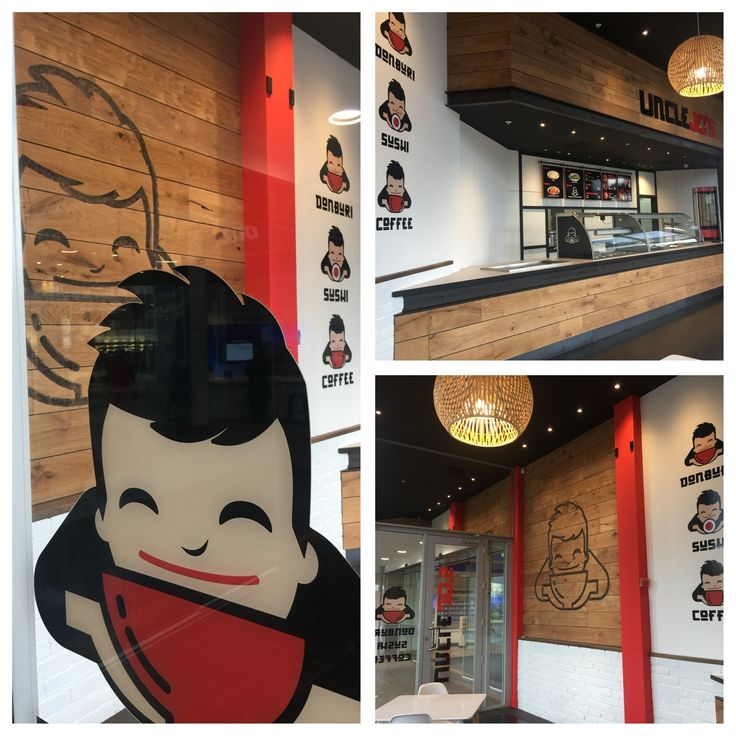 Sushi and donburi cafe restaurant design encompassing timbers blackened steel and strong graphics.