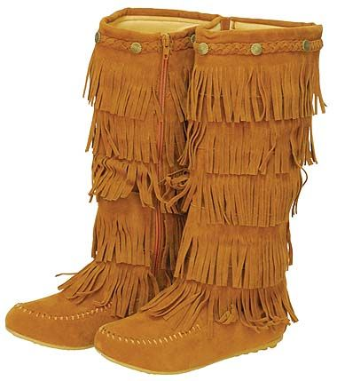 Perfect Women Suede Leather Native American Apache Style Fringe Moccasin Boots By Laurentian Chief