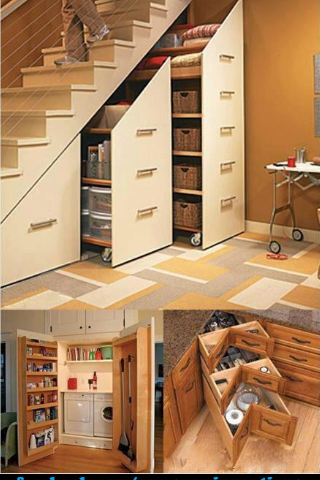 Tiny House - Stair to loft. What else could go under stairs? A couch, a desk/sewing table, a closet. Maybe a whole kitchen? Maybe a fold down table/desk on the end of the stairs