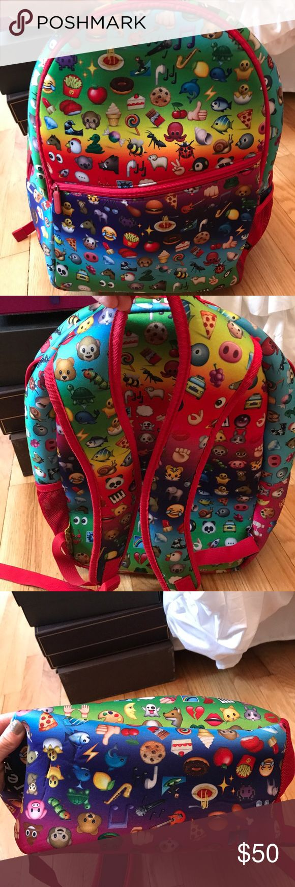 Zara Terez Large Emoji Backpack Like new, adorable emoji colorful backpack. No stains, rips or flaws. Only slight wrinkling on the bottom. Your child will look so cool walking into school with this bright and bold backpack!! Zara Terez Bags Backpacks