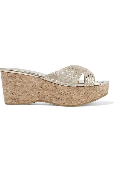 Jimmy Choo - Prima Metallic Snake-effect Suede And Cork Wedge Sandals - Gold - IT