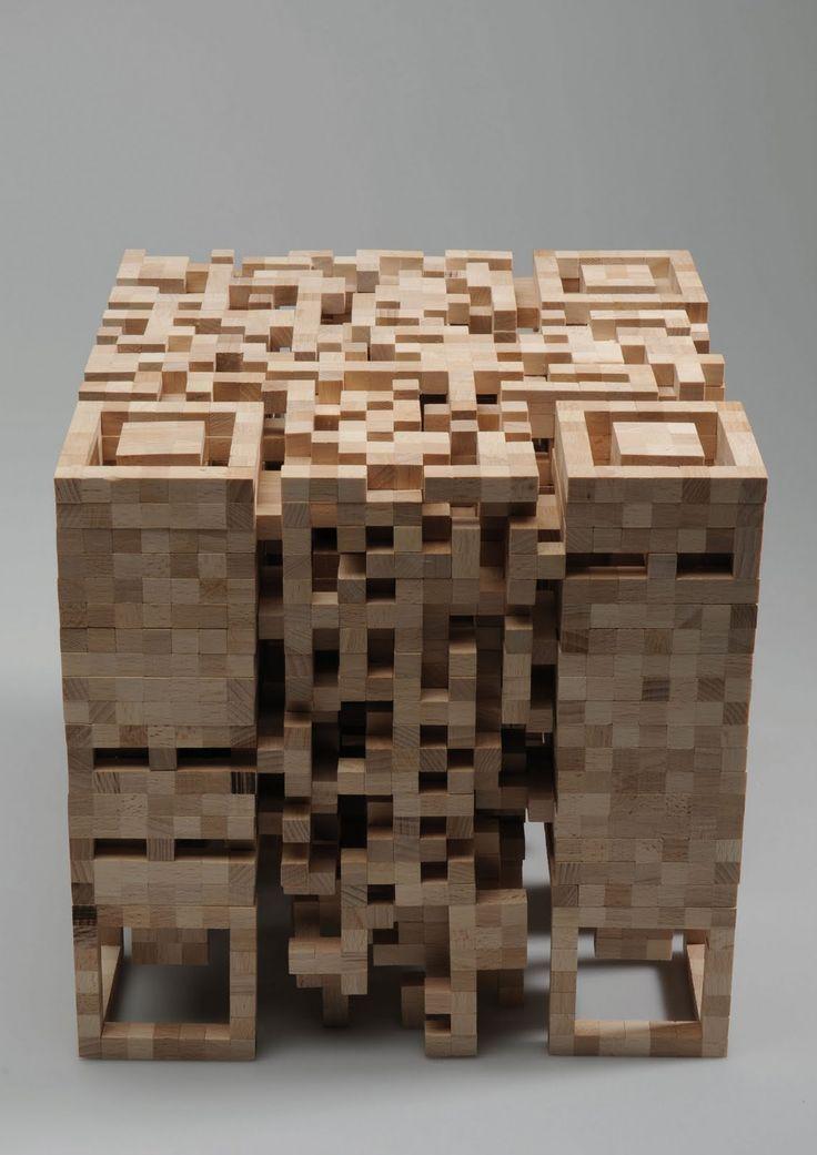 Wooden QR Code Stool