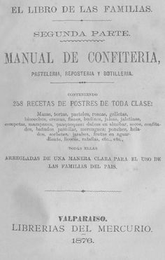 Libro editado en 1876. CONTENIENDO 258 RECETAS DE POSTRES DE TODA CLASE.
