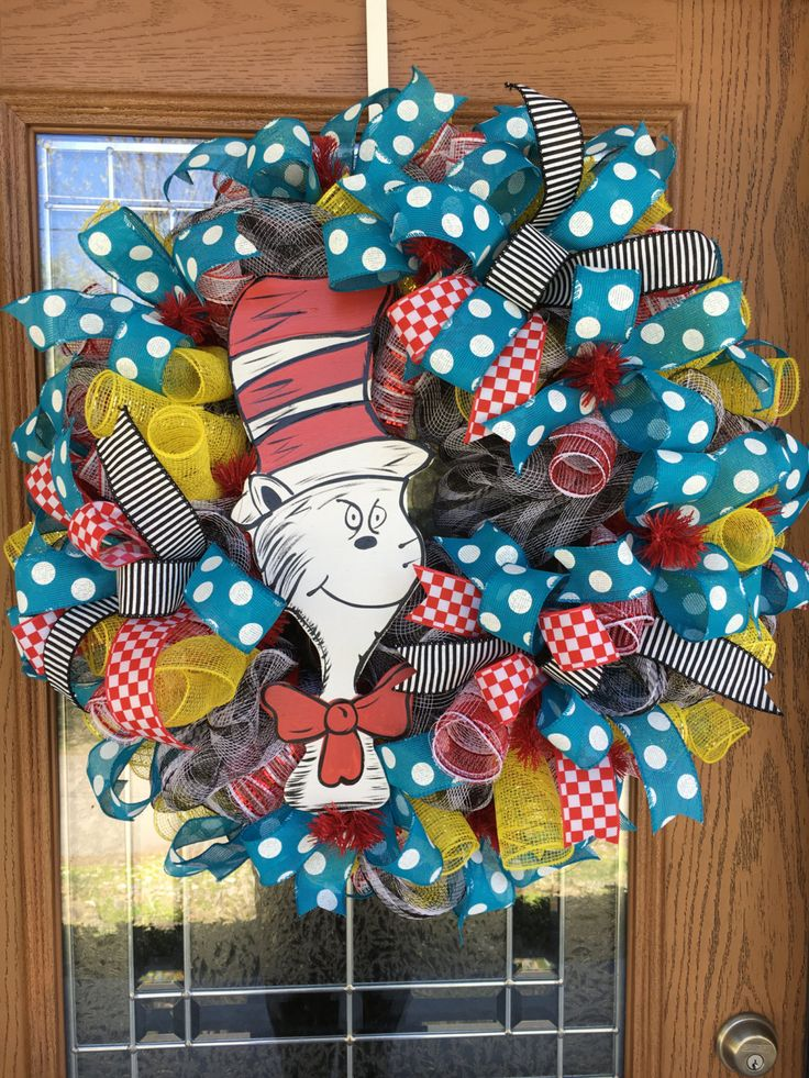 Cat In The Hat Wreath, Dr. Seuss Wreath, Deco Mesh Wreath, Dr. Seuss, Cat In The Hat, Year Round Wreath, Everyday Wreath, Teacher Wreath by IAmThatWreathLady on Etsy