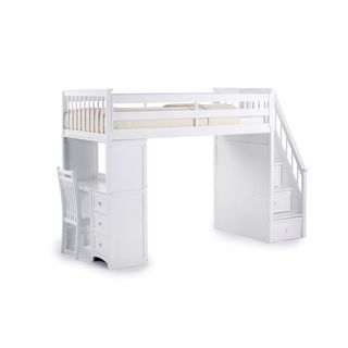 NE Kids School House White Stair Loft With Desk End By NE Kids