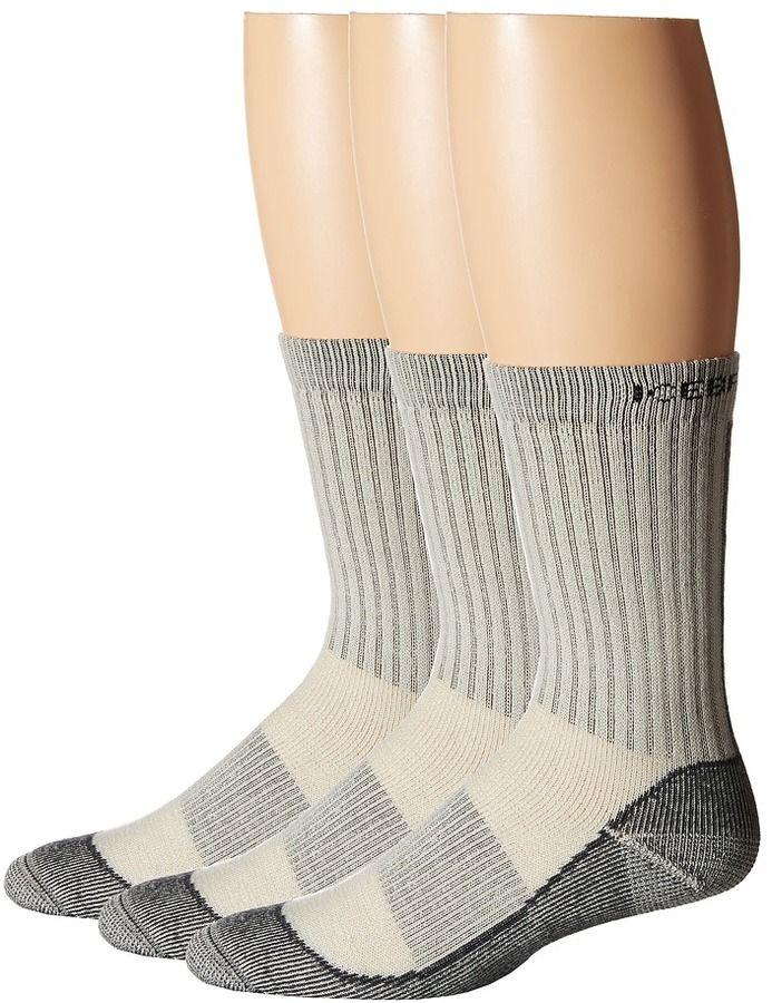 Merino blend helps regulate temperature and manages moisture - Icebreaker - Hike Basic Med Crew 3-Pair Pack Men's Crew Cut Socks Shoes