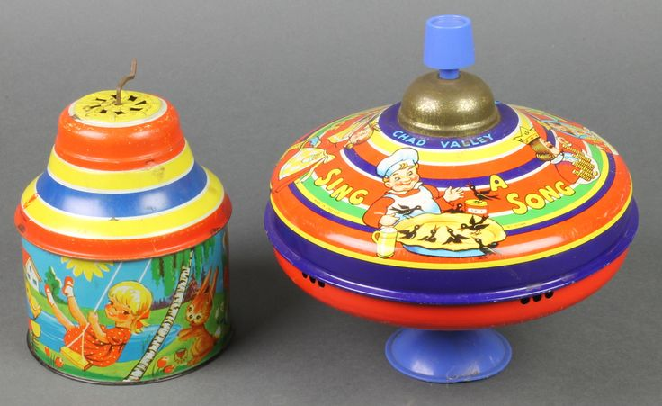 "Lot 245, A Chad Valley pressed metal spinning top 8"" together with a cylindrical West German Fuchs musical box 5"", est £20-40"