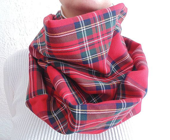 Red Plaid Scarf Red Tartan Infinity Scarf Oversized Scarf