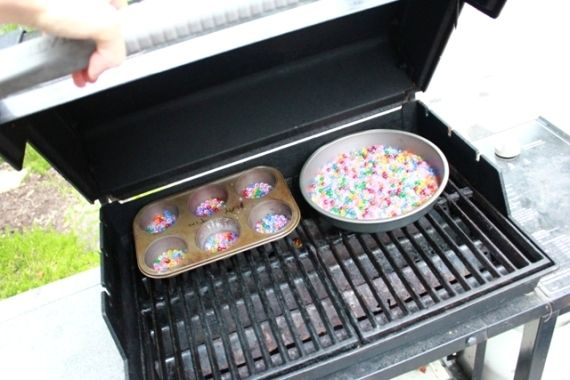 Melted Bead Sun-catcher: Melt them on the grill to avoid toxic fumes inside the home.