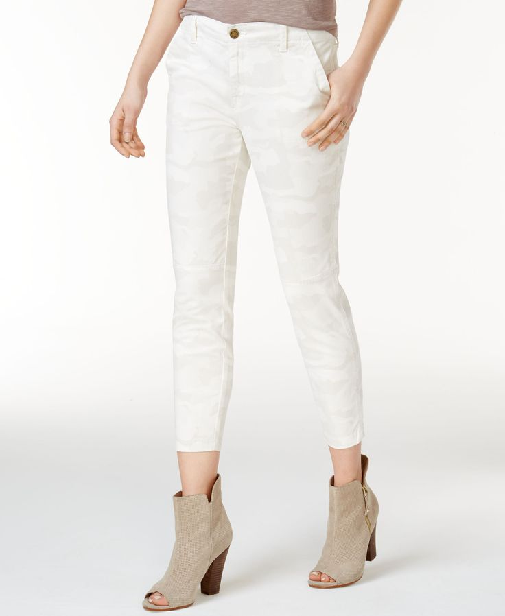 William Rast Cotton Cropped Camo-Print Skinny Pants