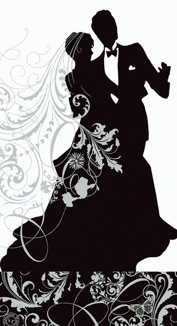 Silhouette Wedding Couple Counted Cross Stitch Pattern