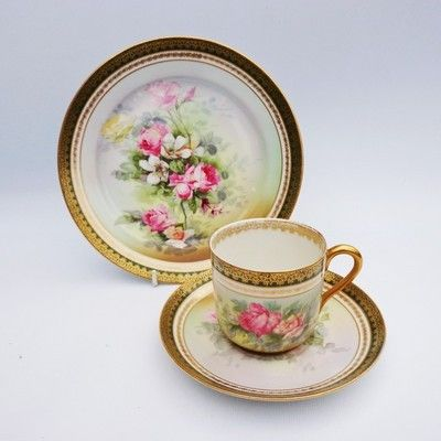 [zipedit] Attractive Limoges Pink & Yellow Roses Elegant Antique Hand Painted Tea Trio This is a wonderful vintage hand painted matched trio set comprising of coffee/tea cup, saucer and side plate. EX