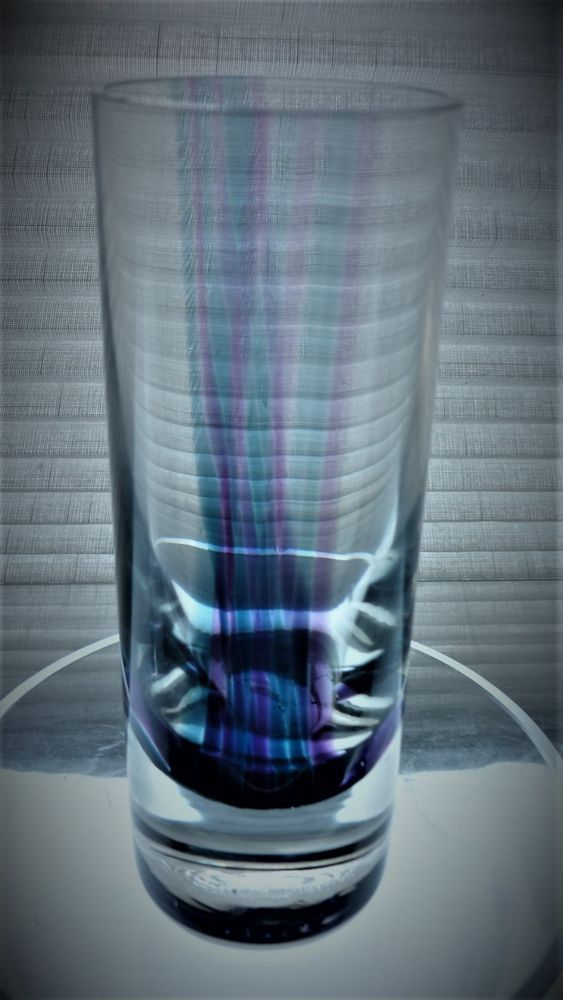 """1970s vintage Charles Orr designed Caithness """"Oban""""Glass Cylinder Vase."""