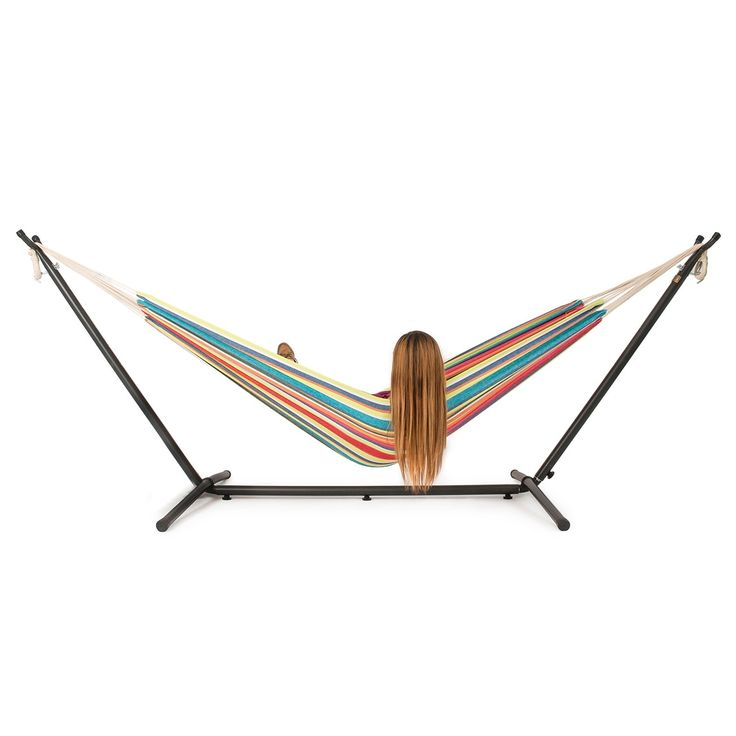 Belleze 10ft Double Hammock Stand with Carrying Case Kit, (Tropical), Multi (Cotton), Patio Furniture