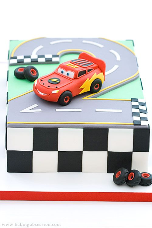 Lightning McQueen Cake recipe - all edible; the cake is fondant-covered; the Lightning McQueen is made of gum paste (Baking Obsession) #cakes #sport #racing