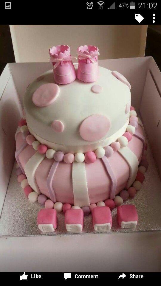 Christening cake, girlie, pink, booties