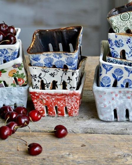 Ceramic Berry Baskets Handmade Pottery by Terre Ferme Pottery & Kentia Naud #w