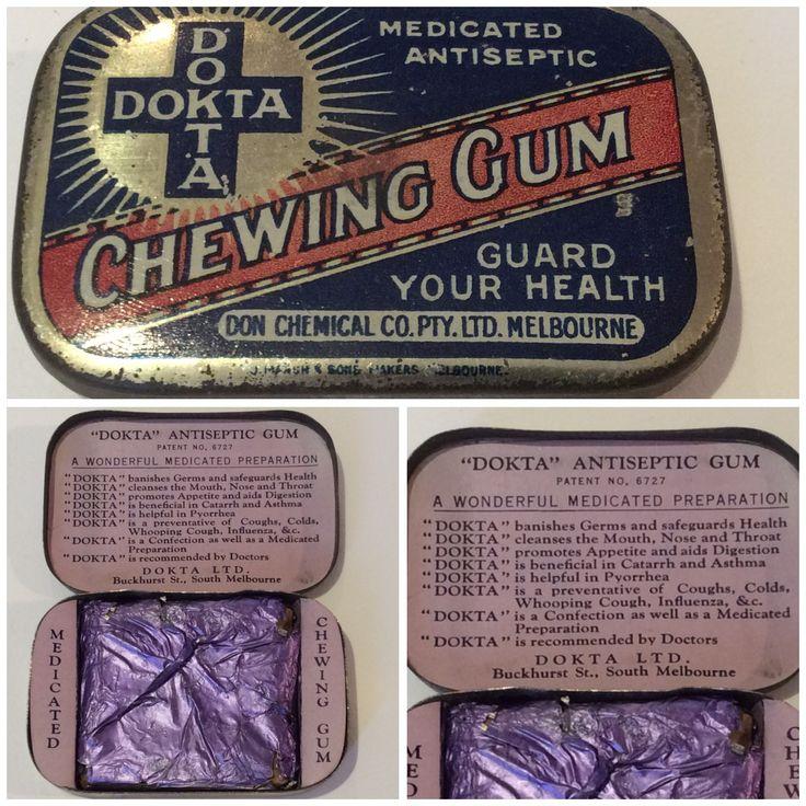 Dokta Chewing Gum Tin. Antique. Don Chemical Co. Pty Ltd Melbourne.