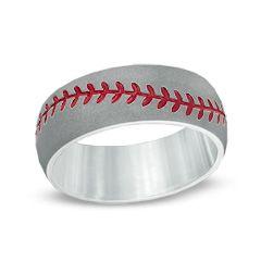 Men's 8.0mm Domed Baseball Comfort Fit Cobalt and Red Enamel Wedding Band - Size 10