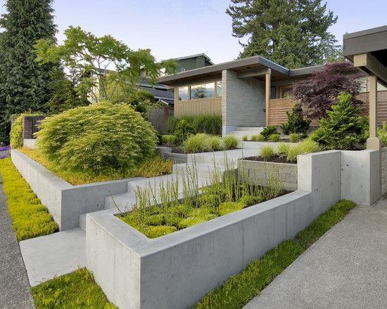 Betonsteinmauer elemente mit Bepflanzung gartenbau