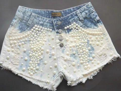 #short#customizado#perolas#josii/short com perolas