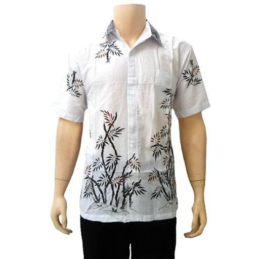 Baju batik modern pria motif bambu