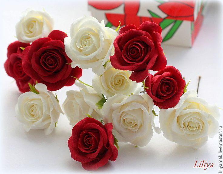 Купить Шпильки с розами и бутонами - шпильки для волос, шпильки с цветами, розы ручной работы