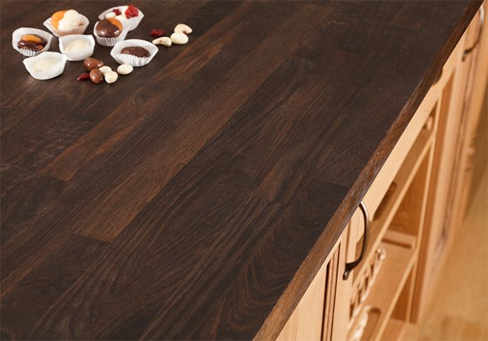 Each black oak worktop is created by finger jointing a number of specially treated oak staves to create surfaces up to 4m in length. http://www.worktop-express.co.uk/wood_worktops/black-oak-worktops.html