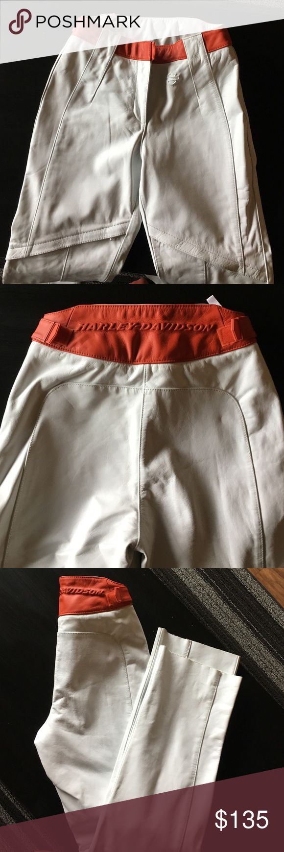 """Women's Harley Davidson White Leather pants Brand new. Never worn (because I didn't have time to hem) size 2. 10"""" rise, 30"""" inseam, 8"""" leg opening. I also have the matching jacket for sale. Harley-Davidson Pants Straight Leg"""