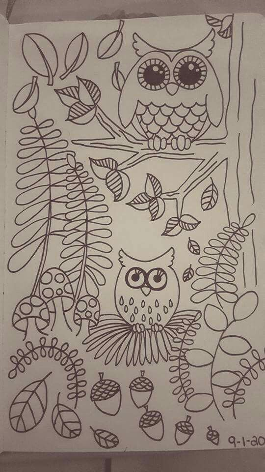 Owls, fall, coloring cuteness
