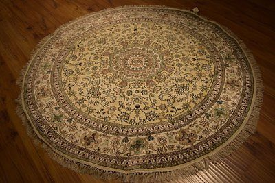 Round Silk Carpet Clearance Rugs online Hand Knotted Rug 6 x 6 Light Gold
