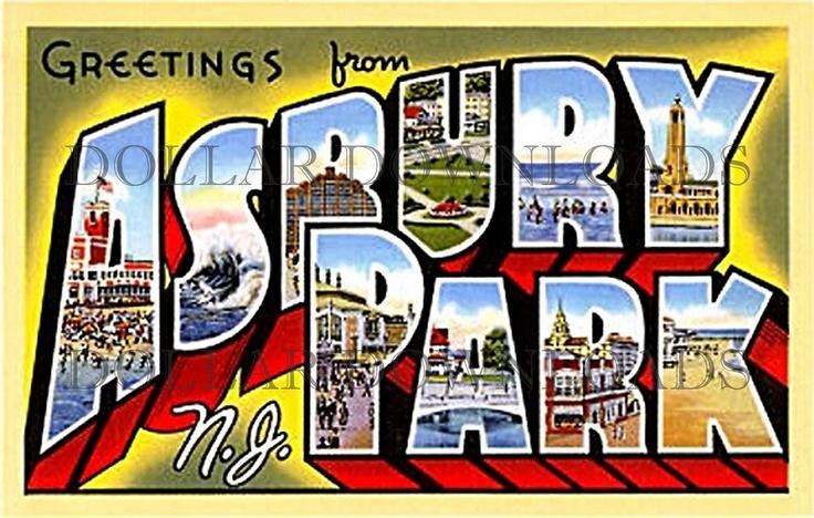 Greetings from Asbury Park NJ Vintage Large by DollarDownloads