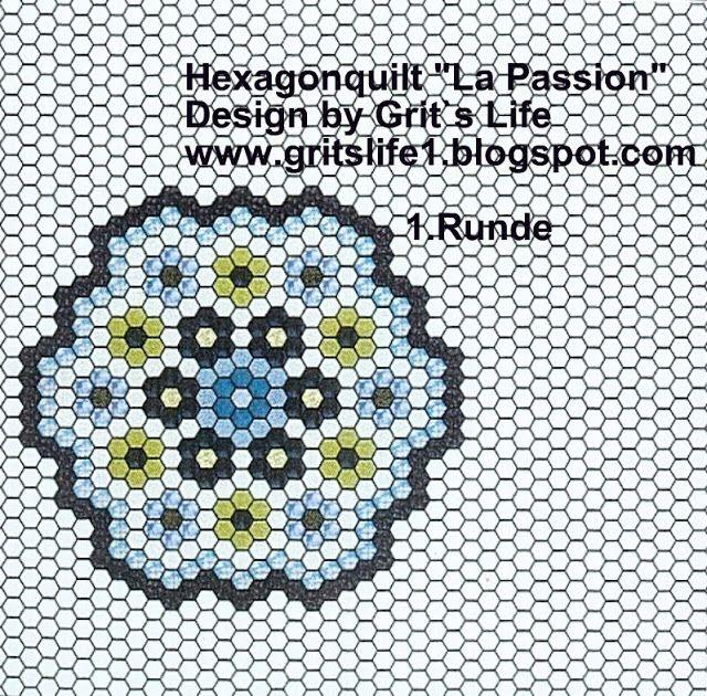 """Grit's Life: 1st part Hexagonquilt """"La Passion"""""""