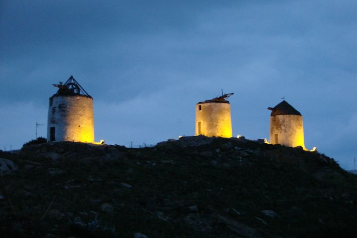 We ♥ Greece | Twillight wind-mills at Tripodes village, Naxos island #Greece #travel #explore #destination