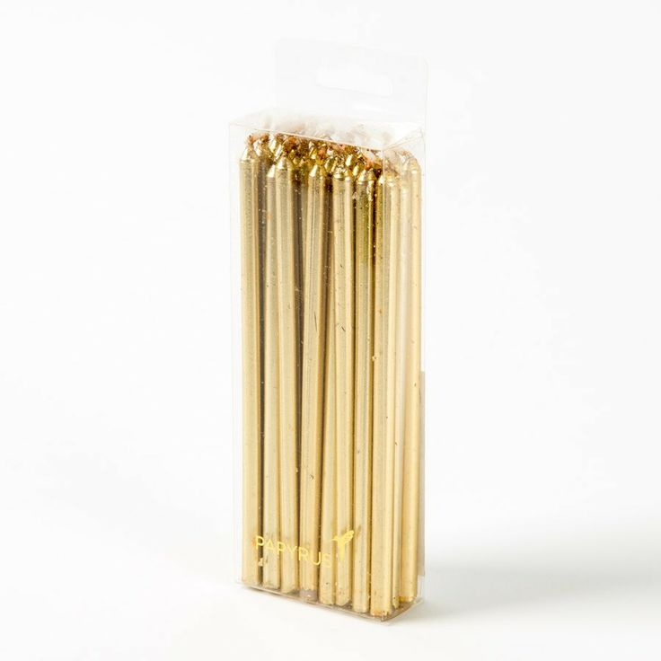Gold Metallic Birthday Candles (Set of 24)