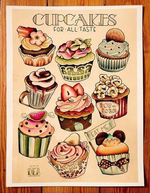 tattoo flash sketche cupcake food