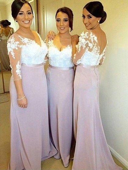 Sheath/Column V-neck Tulle Silk-like Satin Appliques Lace 3/4 Sleeve Bridesmaid…