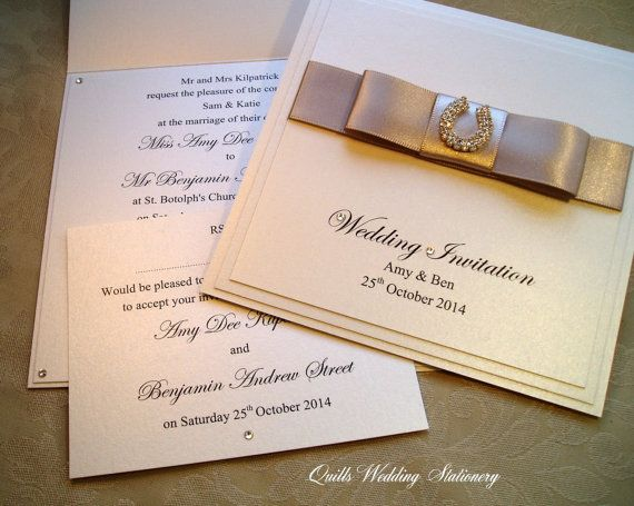 Diamanté Horseshoe Wedding Invitation and by QuillsWeddingFavours www.quillsweddingstationery.co.uk https://www.facebook.com/pages/Quills-Wedding-Stationery/278003989009997