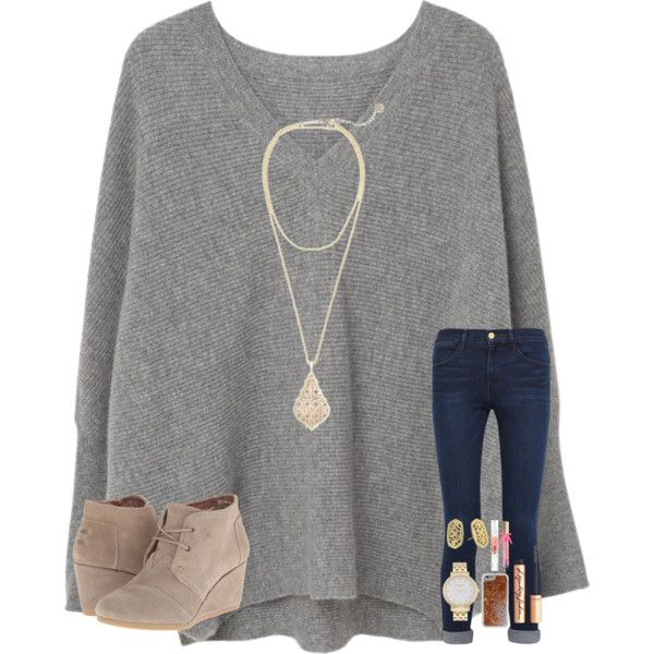 game tonight by mae343 on Polyvore featuring polyvore, fashion, style, MANGO, Frame, TOMS, Kendra Scott, Kate Spade, Agent 18 and Charlotte Tilbury