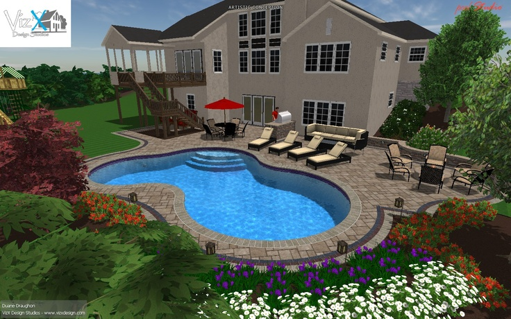 Salt water 3d gunite pool design w outdoor living space for Water pool design
