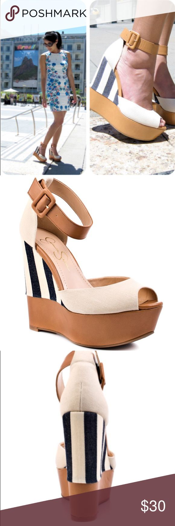 Jessica Simpson Cocoa tan wedges Gorgeous pair of tan with navy accents wedges perfect for summer! Adjustable strap hug your ankle for perfect fit! 5 1/4 inch wedge and 1 1/2 inch platform. Jessica Simpson Shoes Wedges