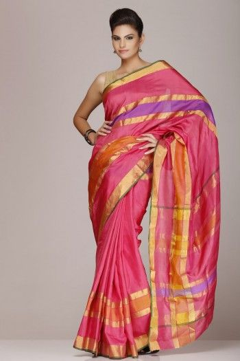 #Pink #Soft #Silk #Saree With #Multicolored Stripes on www.indiainmybag.com/coimbatore-re-visited-pure-silk-sarees.html