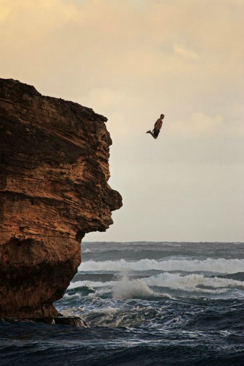 jump from a high cliff