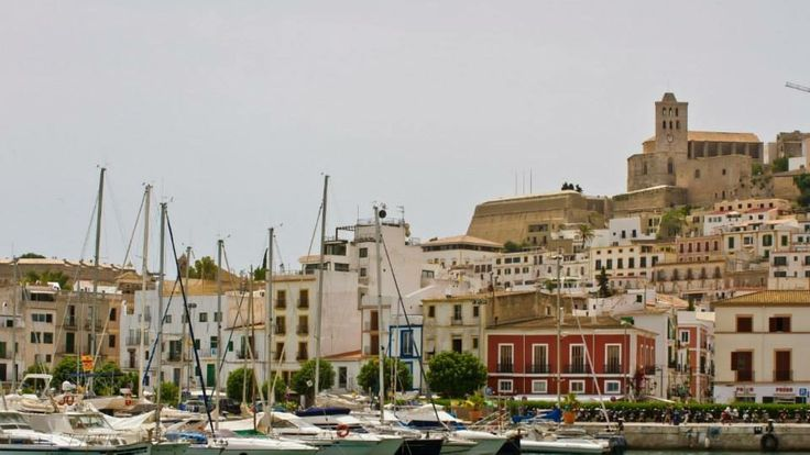 Boats in the Harbour at Ibiza Town Ibiza Spain