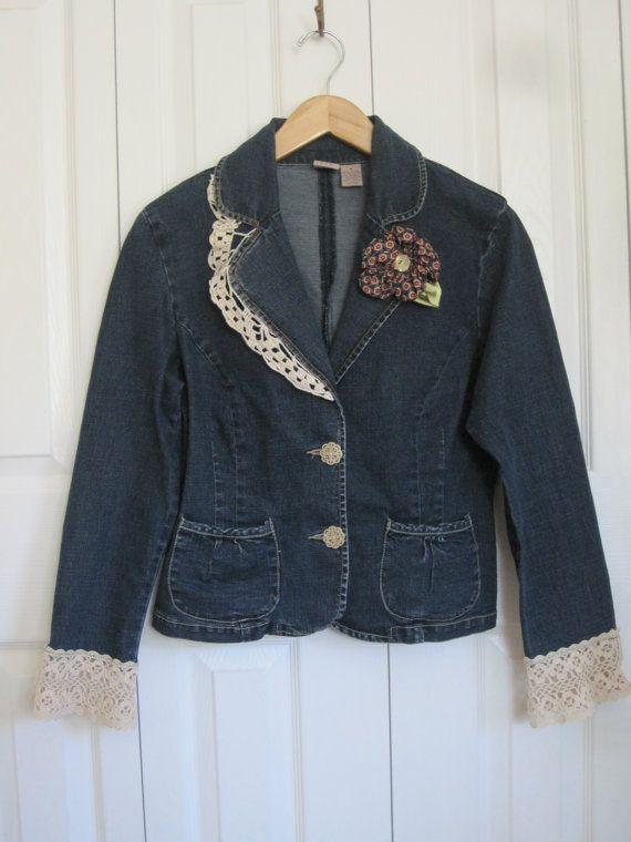 Boho denim jacket cowgirl denim blazer upcycled by ShabyVintage, $44.00