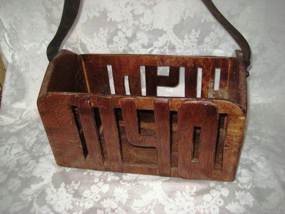 Vintage wood tool box, tool carrier, leather strap, handmade union 1140 tool box, rustic primitive tool box, industrial tool box
