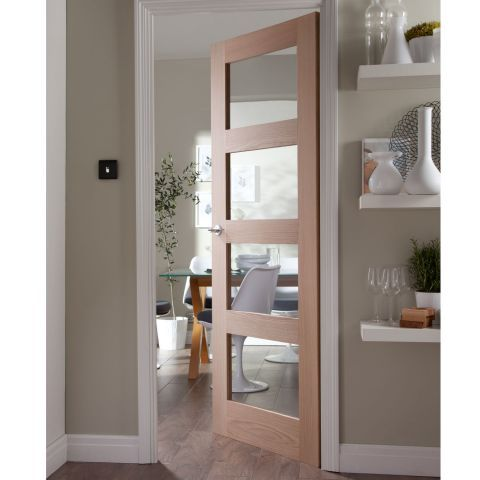 Jeld-Wen Shaker 4 Panel Glazed White Oak Internal Door – Next Day Delivery Jeld-Wen Shaker 4 Panel Glazed White Oak Internal Door