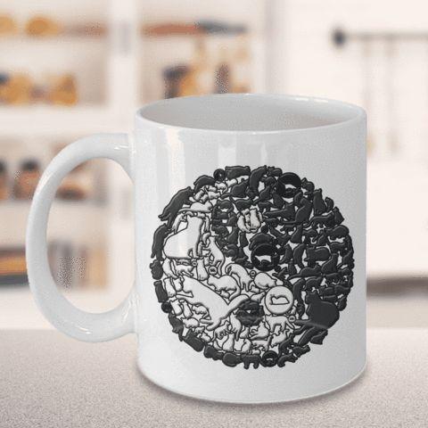 Cat Mug, Yin and Yang Cats, Crazy Cat Lady Gift, Cat Lovers Mug