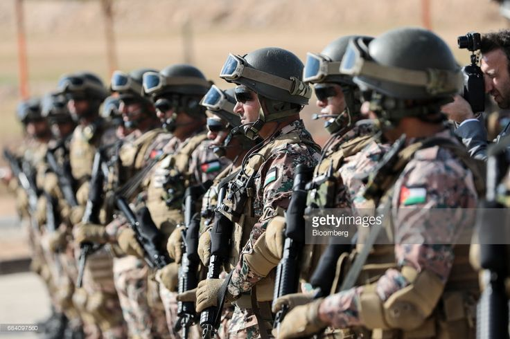 Jordanian army soldiers stand during a visit by U.K. Prime Minister Theresa May to a Jordanian Army Base in Zarqqa, Jordan, on Monday, April 3, 2017.Maybegan a visit to Jordan and Saudi Arabiaon Monday, with the goal of building security and commercial ties. Photographer: Simon Dawson/Bloomberg via Getty Images
